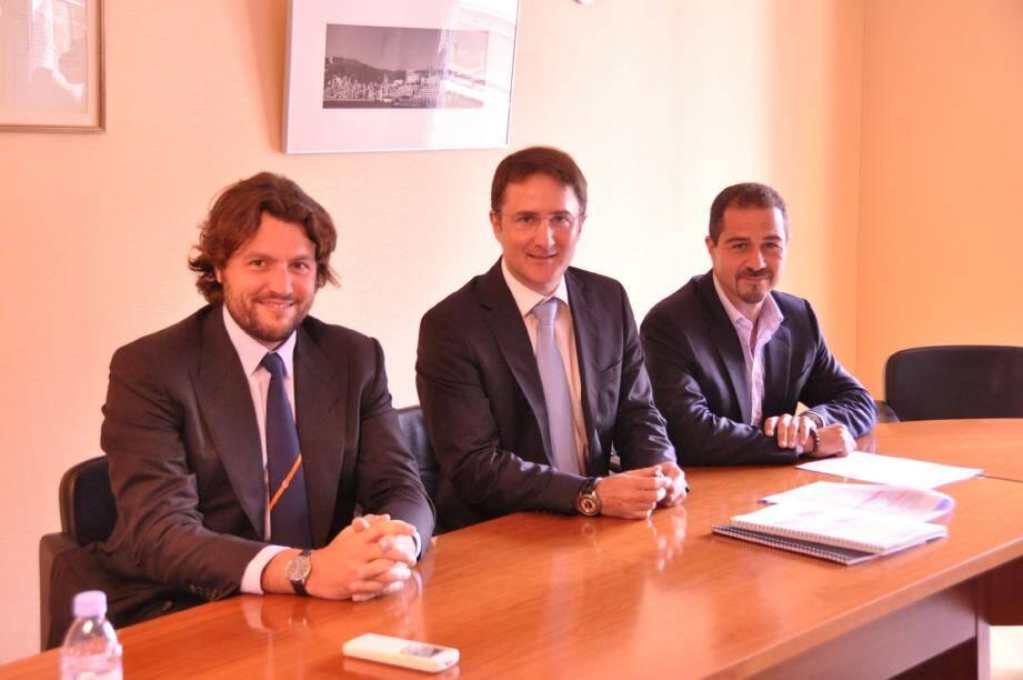 Au centre, Philippe Ortelli, président de la fédération patronale ; à gauche, Alexandre Albertini, vice-président pour le développement et l'international ; à droite, Nicolas Gentelle, vice-président pour la prospective.