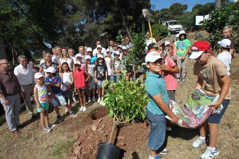Armés de pelles et pioches, les élèves ont planté une dizaine d'arbres; lesquels permettront au site de mieux respirer.