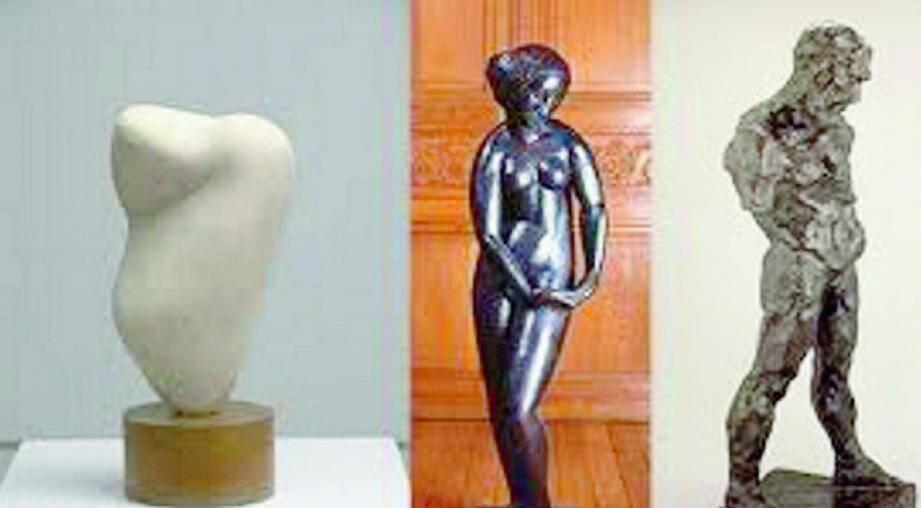 (De gauche à droite) : les sculptures de Jean Arp (1887-1966), André Derain (1880-1954), et Roger de la Fresnaye 1885-1925) seront visibles jusqu'au 6 octobre.