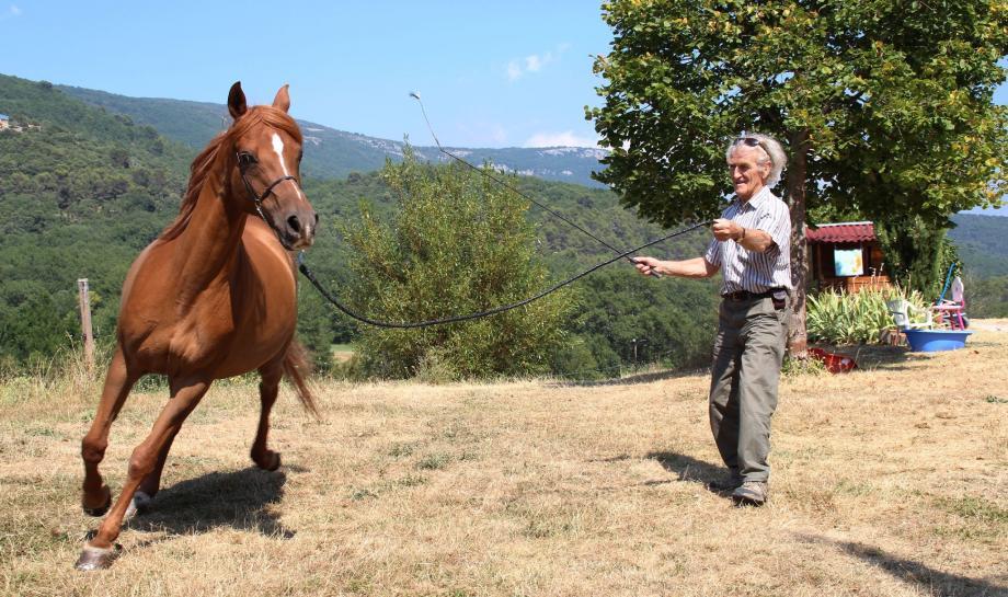 Gérard Morin avec Karmen Al Khamsa, une jument classée « excellente » en endurance à Uzès en 1999.