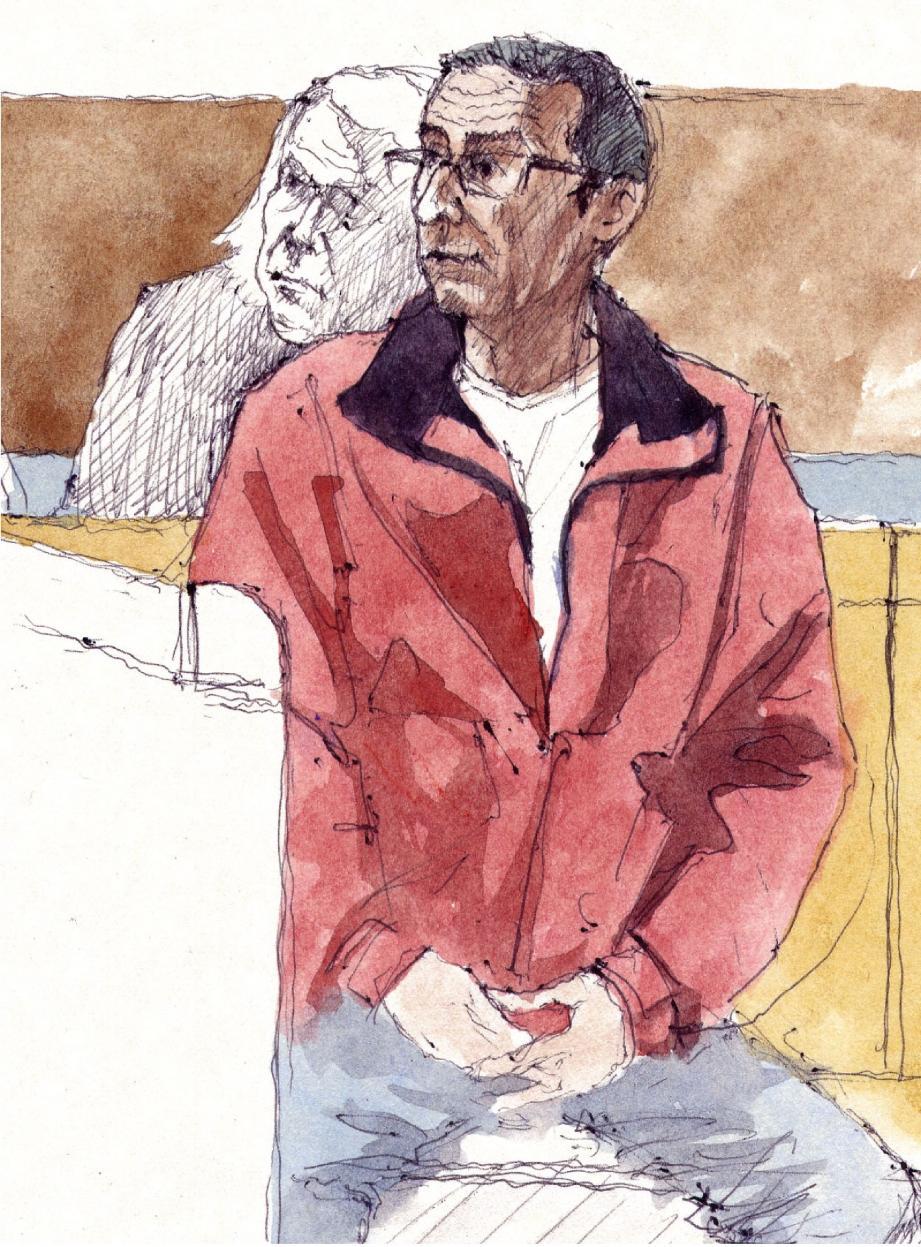 Voisin de palier de la victime, Max, un septuagénaire, a été acquitté en mai dernier par la cour d'assises .(Dessin Remi Kerfriden)