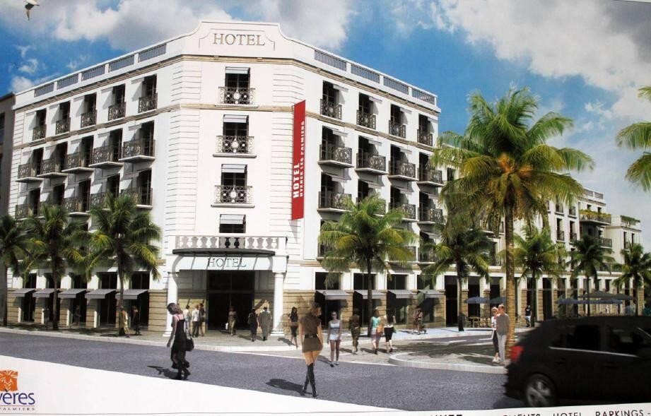 Un hôtel quatre étoiles, et un immeuble de standing, avec des aménagements paysagers et des terrasses. Ci-dessous Jacques Politi, présentant le projet.