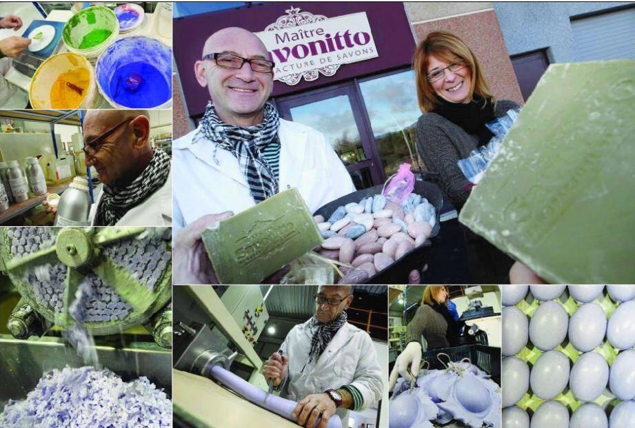 Le secret de la réussite : des matières premières naturelles, une recette traditionnelle, la qualité pour marque de fabrique et plus de cinquante formes proposées, assurent Aldo Bessone, patron de la savonnerie Maître Savonitto, et Ingrid Meurand, responsable qualité.