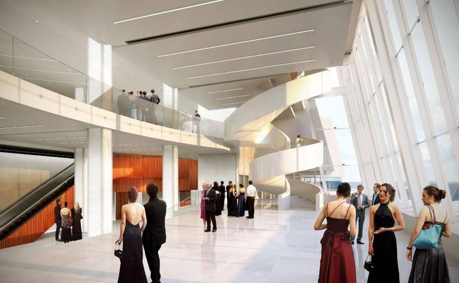 Un escalier blanc hélicoïdal sera construit à l'intérieur du Palais, pour accéder aux entrées du grand auditorium. (copyright Eiffage construction)