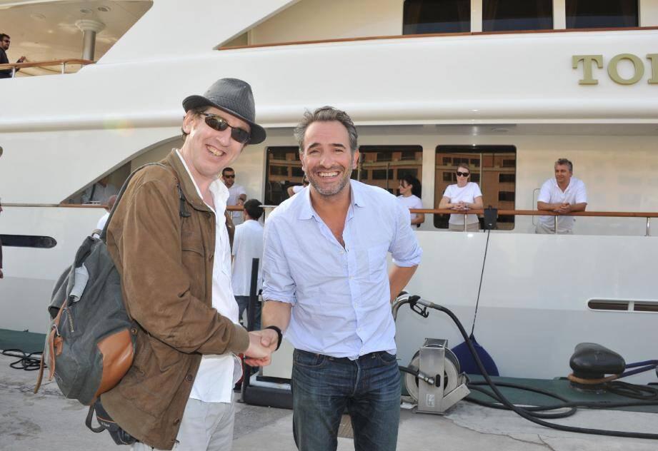 Jean Dujardin et Eric Rochant, l'an dernier pour le tournage sur le port de Fontvieille.