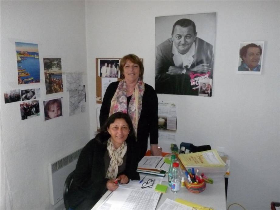 Sylvie Bicchini, présidente départementale des Restos du cœur depuis septembre 2012, en compagnie de la secrétaire départementale Françoise Thiou.