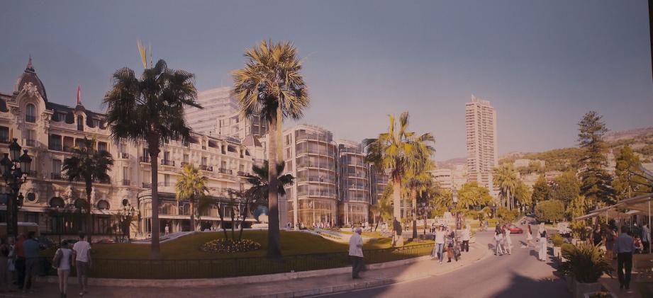 Voici à quoi pourrait ressembler la mythique place du casino dans quelques années : la façade de l'Hôtel de Paris sera conservée, en revanche l'espace intérieur sera réaménagé. De son côté, le Sporting d'hiver aura totalement disparu pour laisser place à cet ensemble moderne.(Repro NM)