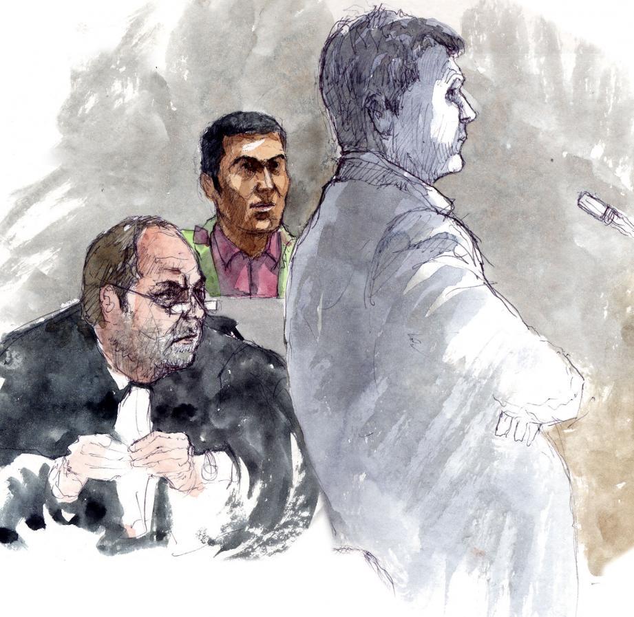 Pour la défense de Ras Santiago, Me Eric Dupond-Moretti n'a pas ménagé ses questions au médecin légiste.(Croquis d'audience Rémi Kerfridin)
