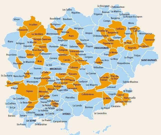 56 communes varoises (de plus de 1 000 habitants et de moins de 3 500) qui vont changer de mode de scrutin lors des prochaines élections municipales