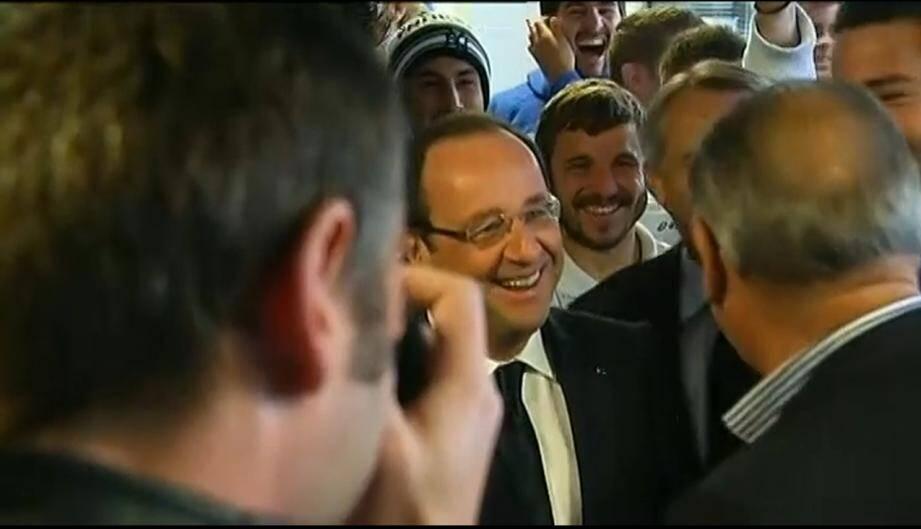 François Hollande et l'équipe de Castres olympique
