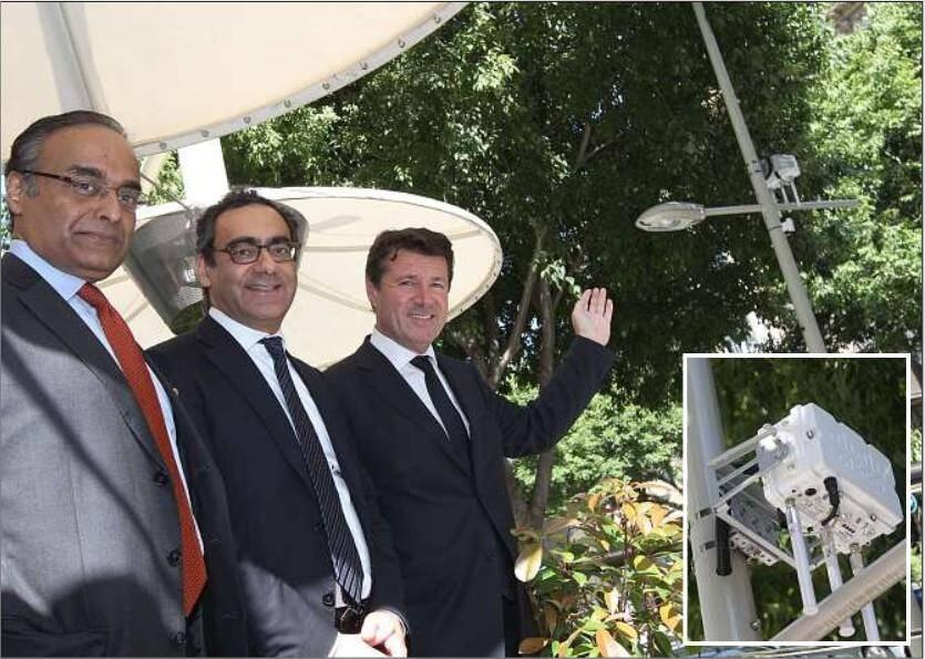 Visite de terrain hier en présence de Christian Estrosi, AnilMenon, senior vice-président de Cisco pour l'activité villes intelligentes et Robert Vassoyan, directeur général de Cisco France.