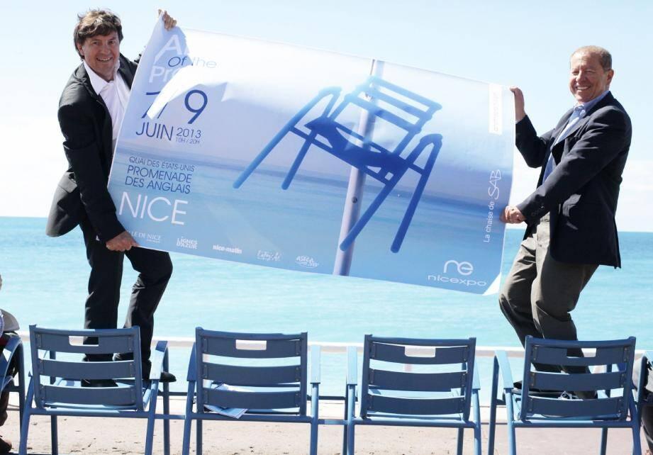 « Art of the Prom » : un salon lumineux, bien installé sur fond de mer, qui fera voir la vie en bleu grâce aux deux organisateurs de cet événement : Frédéric Jourdan-Gassin (à gauche) et Paul Obadia, président et directeur général de Nicexpo.