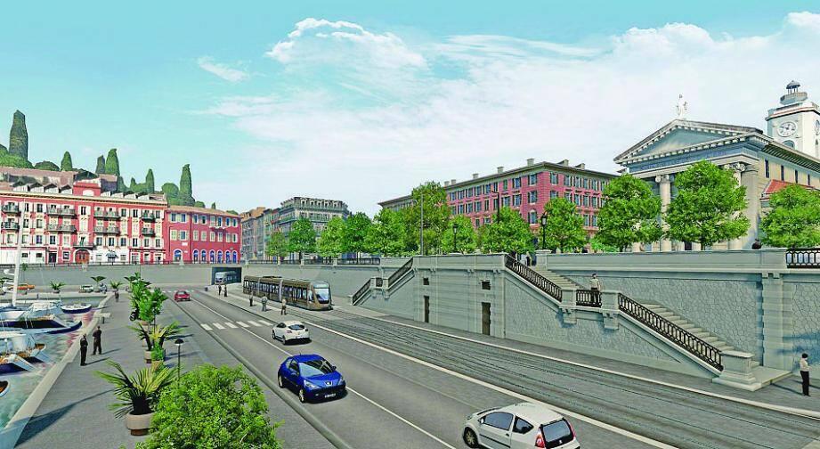 Simulation du projet de ligne 2 du tramway de Nice.