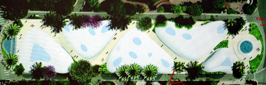 Vue aérienne du projet à venir de la place du Casino à l'avenue de la Costa.
