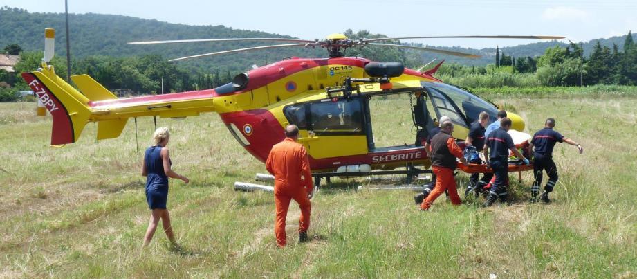 Gravement touché au visage, l'enfant a été évacué vers l'hôpital Lenval à Nice.