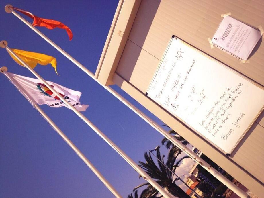 Le drapeau jaune flotte sur la plage du CLJ de Cagnes