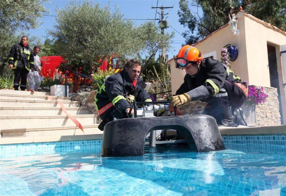 Exercice sapeurs-pompiers à Mazaugues
