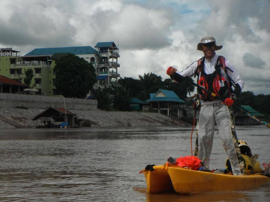 Patrick Gasiglia sur le Mekong a connu quelques galères mais n'a jamais pensé à abandonner son périple.