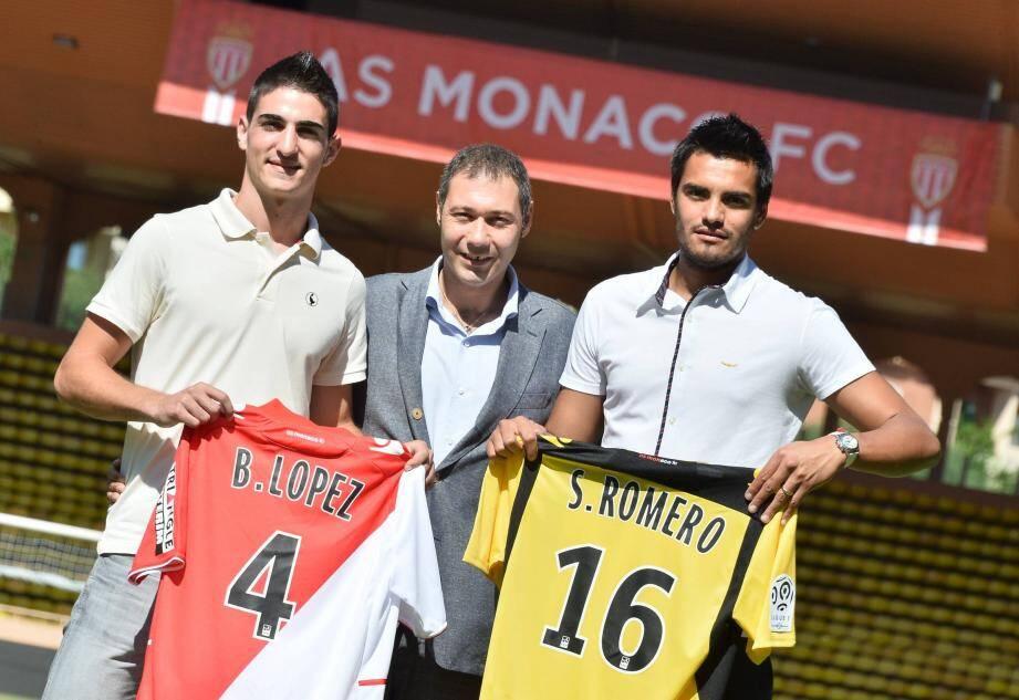 Borja Lopez et Sergio Romero aux côtés de Riccardo Pecini, le directeur technique de l'AS Monaco