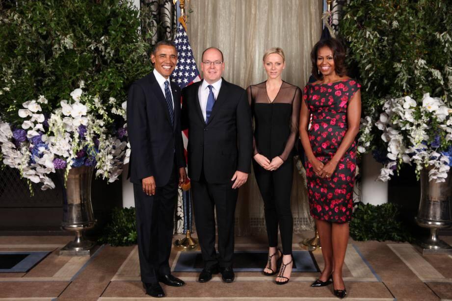 Le prince Albert II et la princesse Charlène ont été reçus par le président américain Barack Obama et son épouse Michelle.