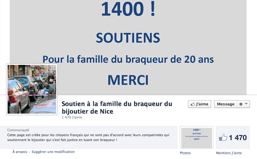 Il existe aussi une page Facebook de soutien à la famille du braqueur.