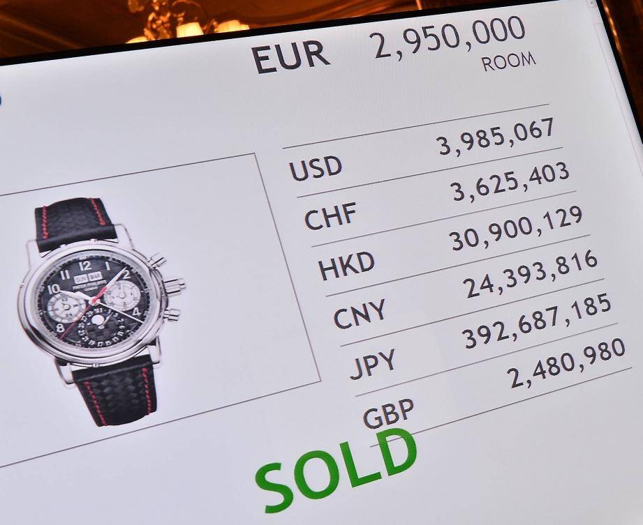 Un Chinois a déboursé 2,950 millions d'euros pour cette Patek Philippe.