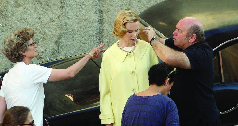 Nicole Kidman en Grace Kelly, lors du tournage à Menton à l'automne dernier.