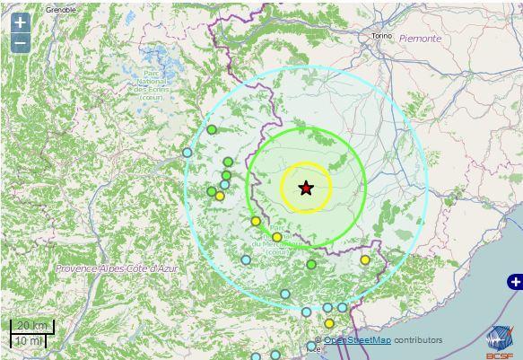 """Contacté par Nice-matin, le Réseau national de surveillance sismique à Strasbourg, décrit ce séisme comme """"modéré mais important pour la région de Cunéo"""", dans la lignée des dernières secousses dans cette zone."""