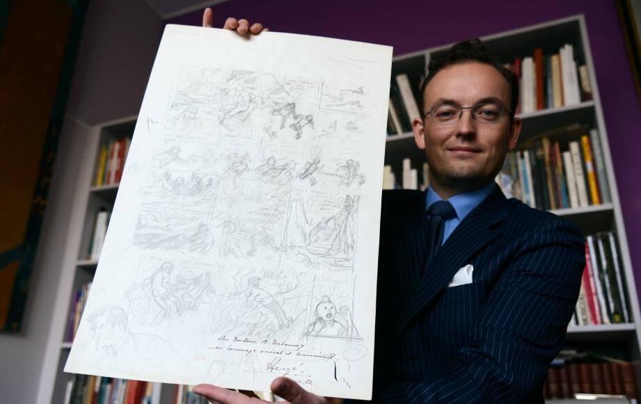 """La planche originale de la page 53 du """"Vol 714 pour Sydney"""" a été estimée à 70.000€, mais elle pourrait trouver preneur à plus de 100.000."""