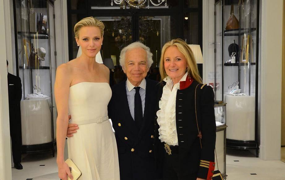 Lundi soir, la princesse Charlène a assisté à la projection de La main au collet. Événement organisé par Ralph Lauren, ici avec son épouse Ricky.