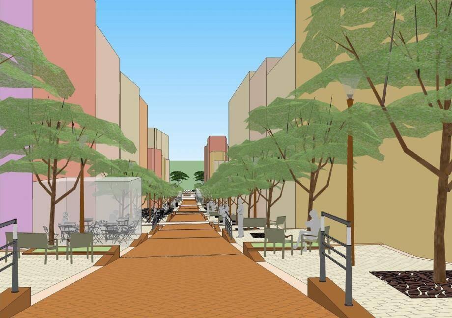 Sur ce plan, voici l'aspect que devrait avoir la rue piétonne au terme des travaux… avec des paliers et des espaces plus conviviaux.(Repro Centre de Presse)