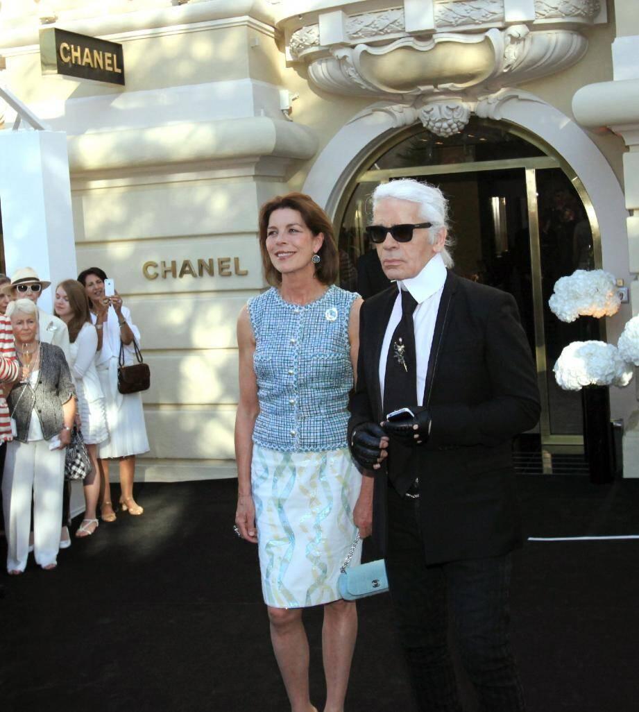 Karl Lagerfeld avec la Princesse Caroline en juillet 2012 à Monaco.