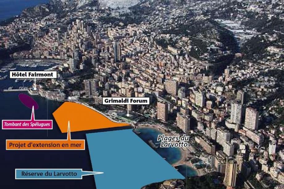 Le projet d'extension en mer devrait représenter 6 hectares. Il se situerait au Larvotto pour des raisons techniques, la profondeur étant beaucoup plus importante qu'à Fontvieille. (Infographie François-Philippe Langlade)