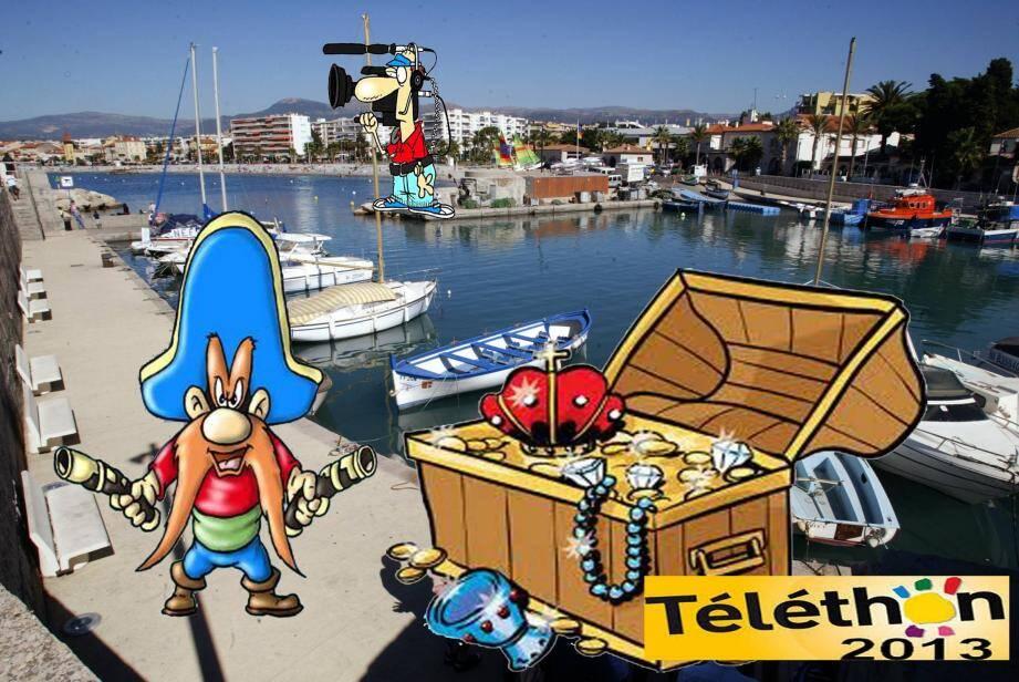 Le pitch de la séquence qui sera tournée au port samedi : des brigands veulent s'emparer du trésor du Téléthon, les pêcheurs s'en mêlent des plongeurs vont le récupérer au fond de l'eau.