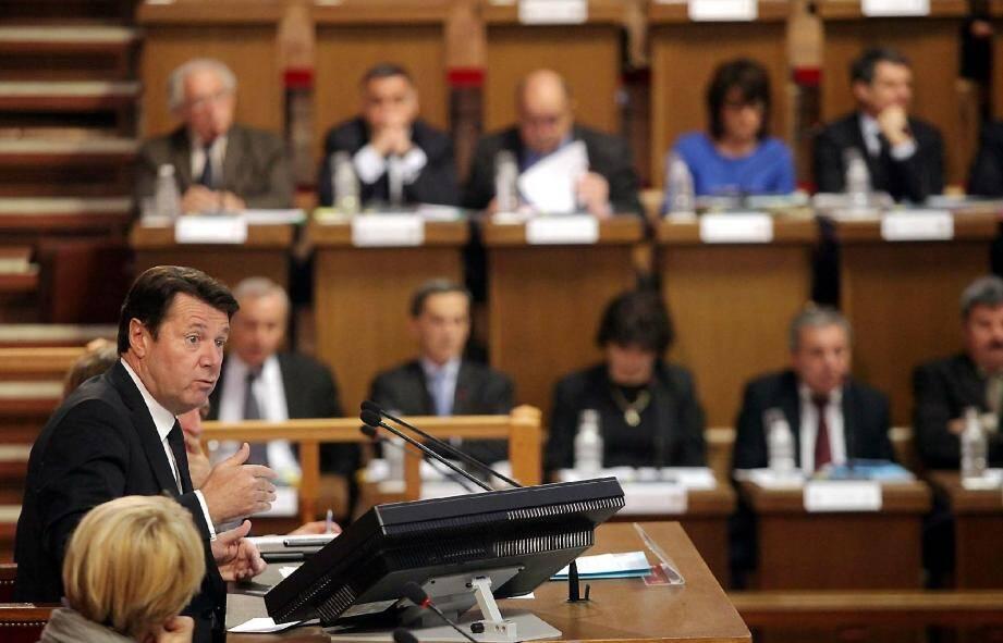 Christian Estrosi, en plein conseil métropolitain.