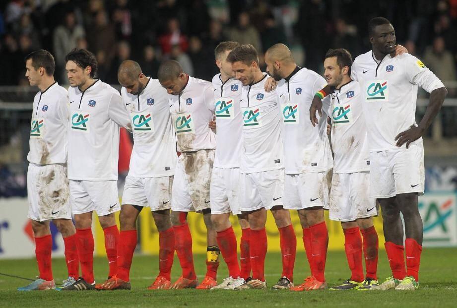 Les Cannois (ici lors de la séance de tirs au but face à Saint-Etienne) devront confirmer leur coup d'éclat du tour précédent.
