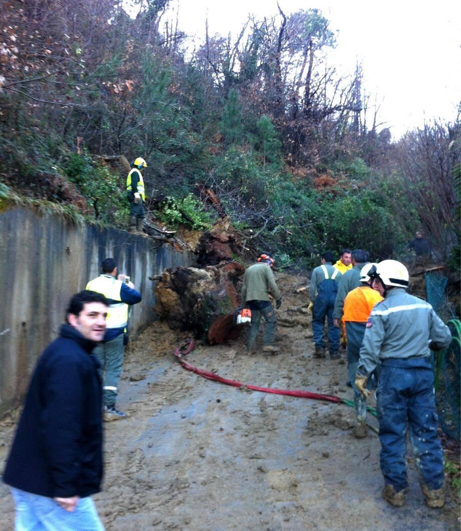 Tout au long de la journée dominicale, diverses équipes ont contribué au rétablissement des routes.