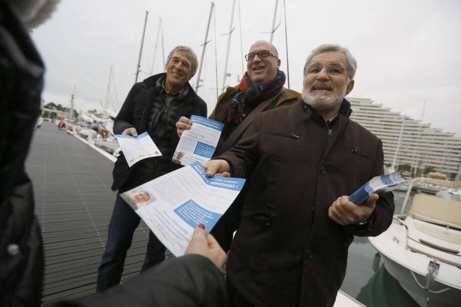 Robert Chignoli, Robert Labro et Pierre Lienemann sur le port de Marina.
