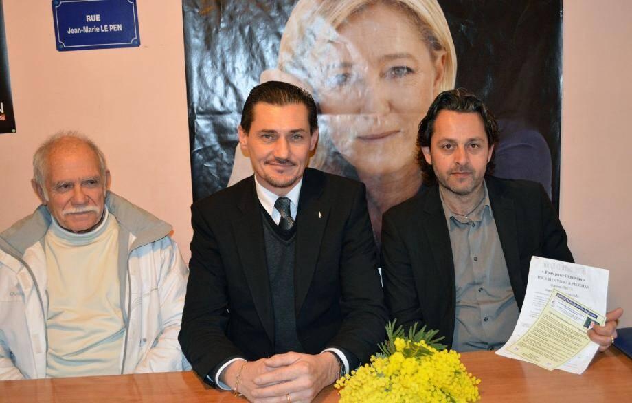 "Stéphane Rioux, candidat du ""Rassemblement Bleu Marine"" a ouvert son local de campagne"