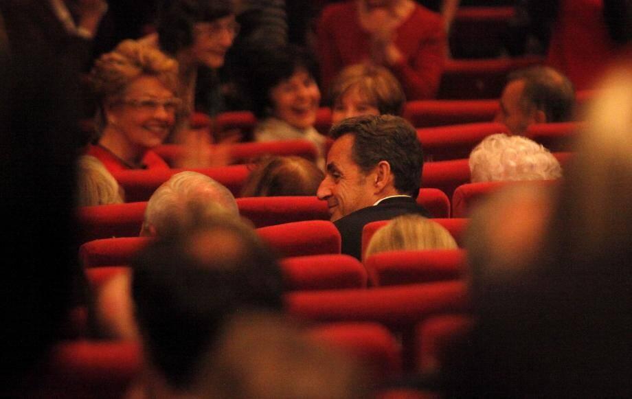 Nicolas Sarkozy dans le public du palais des Festivals de Cannes