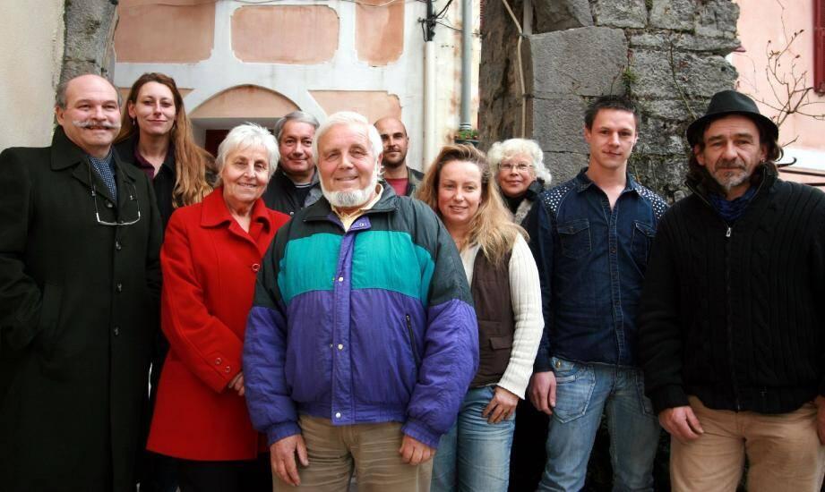 Une partie de la liste « Vivre et travailler à Lucéram ». Absents sur la photo : Marie-Françoise Brasselet, Laura Salmon, Sharon Mattei, Hervé Barralis.