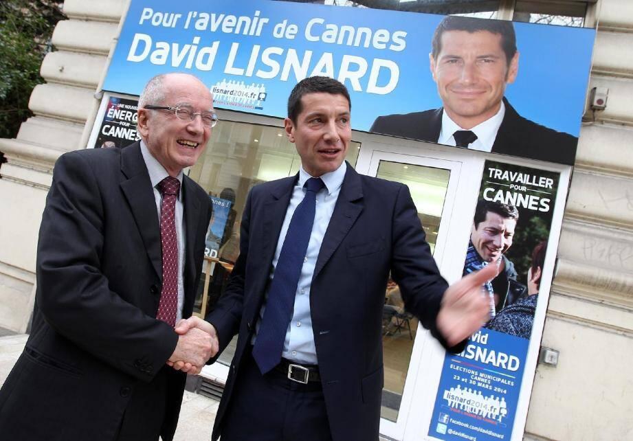 Alain Ramy et David Lisnard main dans la main.