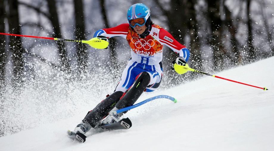Nastasia Noens lors de la première manche du slalom, ce vendredi à Sotchi.
