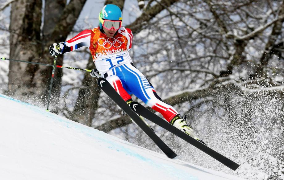 Mathieu Faivre, lors de la première manche du slalom Géant aux Jeux Olympiques de Sotchi