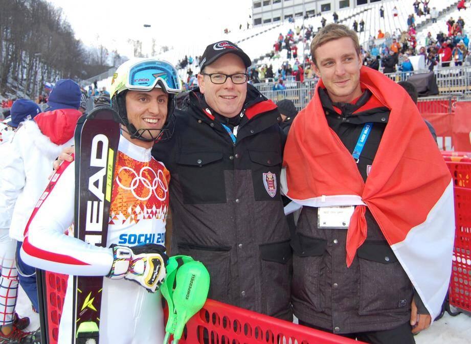 Le prince Albert II, ici avec son neveu Pierre Casiraghi, perçoit un gros potentiel dans le skieur monégasque Olivier Jenot.
