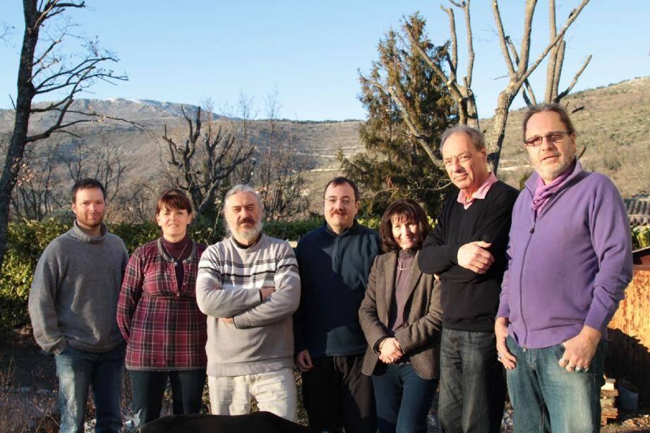 Une partie du groupe, de gauche à droite: Guillaume Canu, Elisabeth Marquès, Jocelyn Paris, Hervé Mariey Madeleine Vignon, Robert Mus et Christian Launay.
