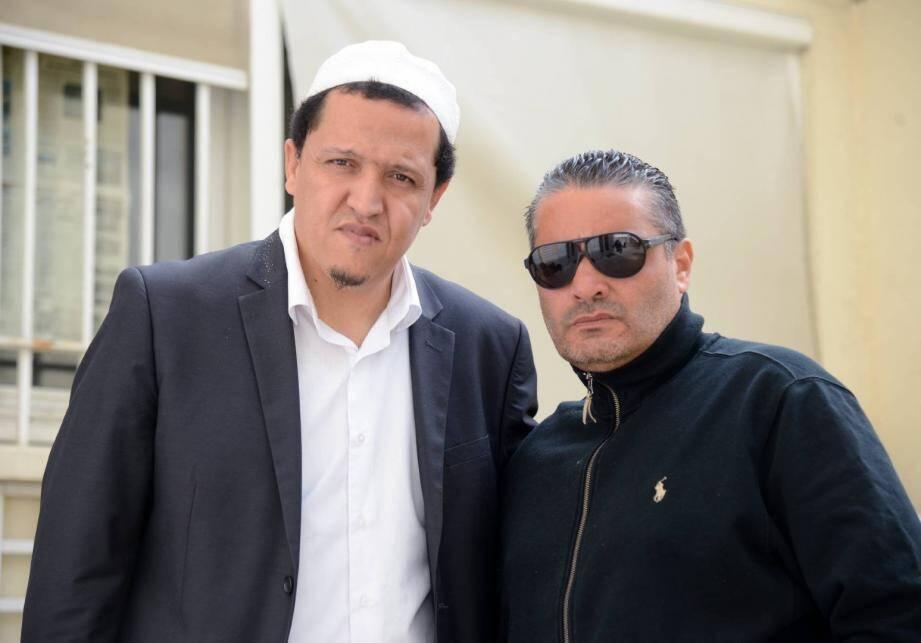L'Imam Hassen Chalgoumi à Cannes à gauche en compagne de Momo Dridi