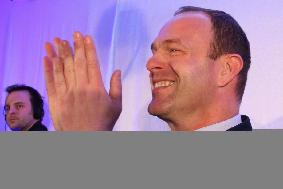 Steeve Briois, candidat FN élu maire d'Hénin-Beaumont (Pas-de-Calais) au soir du premier tour des élections municipales