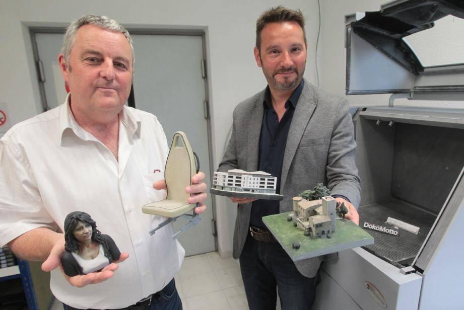 Chaque jour, Philip Bosshard et Eric Peltier sont surpris par les demandes 3D de leurs clients, toutes plus innovantes les unes que les autres.
