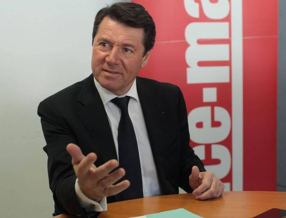Le député-maire de Nice Christian Estrosi dans les locaux de Nice-Matin